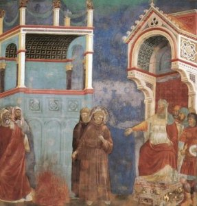 Giotto St. Francis before the Sultan