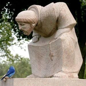 Statute of St. Francis & bird